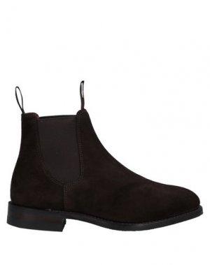 Полусапоги и высокие ботинки LOAKE. Цвет: темно-коричневый