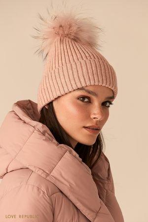 Розовая шапка бини с меховым помпоном LOVE REPUBLIC