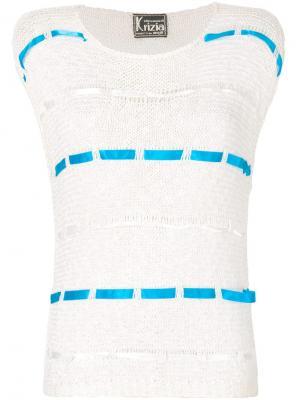 Вязаная блузка со вставками с лентами Krizia Pre-Owned. Цвет: нейтральные цвета