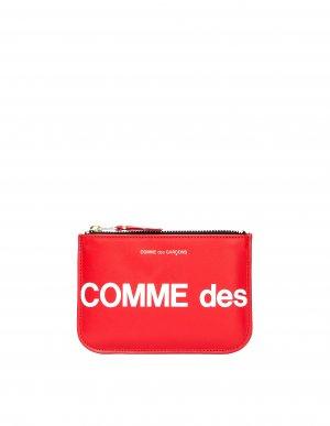 Красный кожаный кошелек с логотипом Comme des Garcons Wallets