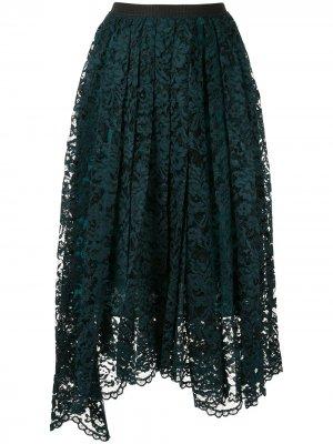 Плиссированная юбка с кружевом Antonio Marras. Цвет: синий