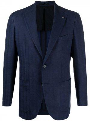 Однобортный пиджак в полоску Tagliatore. Цвет: синий