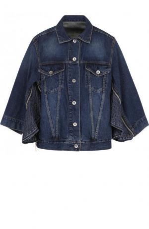 Джинсовая куртка свободного кроя с укороченным рукавом Sacai. Цвет: синий