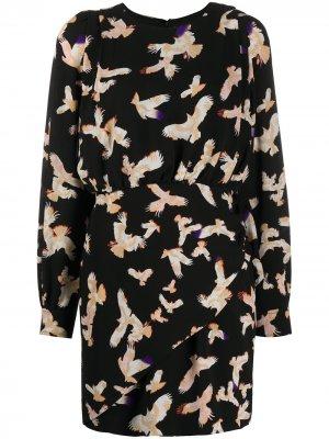 Присборенное платье с принтом Lala Berlin. Цвет: черный