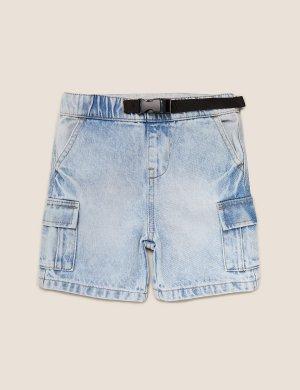 Джинсовые шорты из чистого хлопка с карманами Marks & Spencer. Цвет: деним