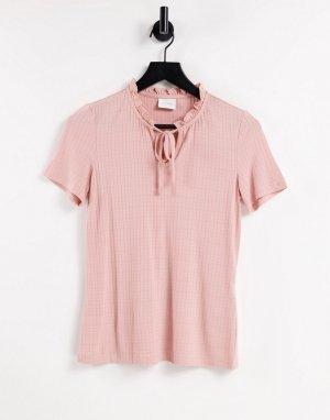 Розовый топ с воротником-поло -Розовый цвет Vila