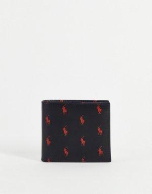 Черный кожаный бумажник двойного сложения со сплошным принтом логотипа красного цвета -Черный цвет Polo Ralph Lauren