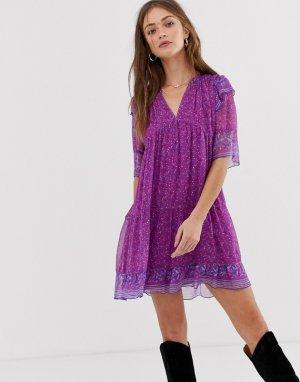 Платье мини с цветочным принтом Maggy BA&SH. Цвет: фиолетовый