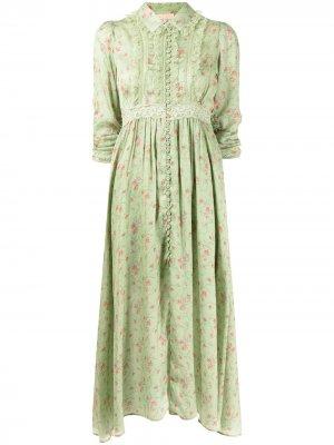 Атласное платье на пуговицах byTiMo. Цвет: зеленый