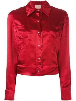 Куртка-бомбер с вышитым тигром Laneus. Цвет: красный
