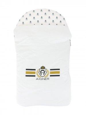 Конверт на молнии с логотипом Aigner Kids. Цвет: синий