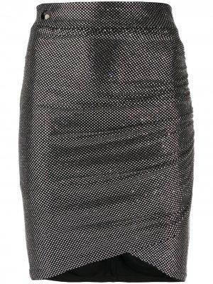 Декорированная юбка мини Philipp Plein. Цвет: серебристый