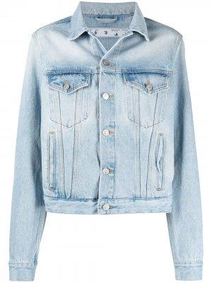 Джинсовая куртка с цветочным логотипом Off-White. Цвет: синий