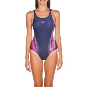 Купальник слитный для бассейна с принтом Briza Swim ARENA. Цвет: синий/ розовый