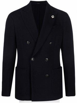 Двубортный пиджак Lardini. Цвет: синий
