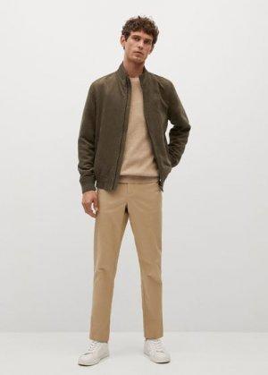 Куртка-бомбер с эффектом замши - Siena Mango. Цвет: хаки