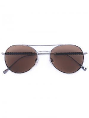 Солнцезащитные очки в оправе авиатор Tod's. Цвет: металлик