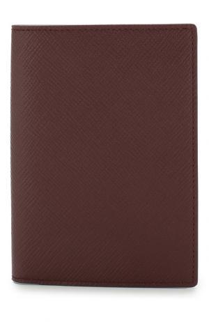 Кожаная обложка для паспорта Panama Smythson. Цвет: бордовый