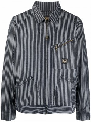 Джинсовая куртка Lee в полоску Aries. Цвет: синий
