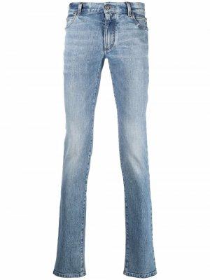 Прямые джинсы средней посадки Balmain. Цвет: синий