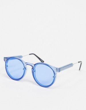 Круглые солнцезащитные очки в синей оправе -Черный Spitfire