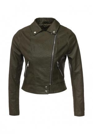 Куртка кожаная Adrixx. Цвет: зеленый