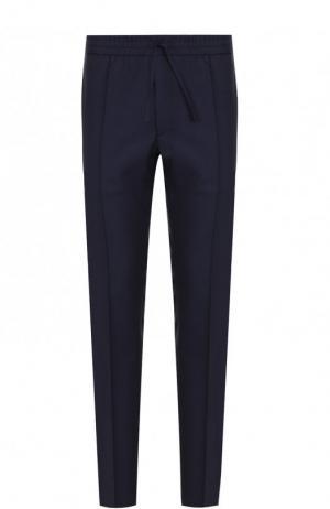 Шерстяные брюки прямого кроя с поясом на резинке Brioni. Цвет: синий