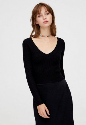 Пуловер Pull&Bear. Цвет: черный