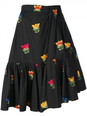 Присборенная юбка с цветочной вышивкой Carolina Herrera. Цвет: черный