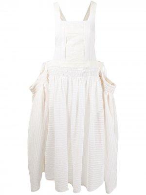Платье-сарафан с квадратным вырезом Renli Su. Цвет: белый