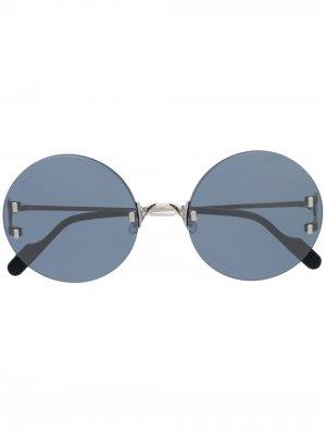 Затемненные солнцезащитные очки в круглой оправе Cartier Eyewear. Цвет: синий