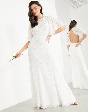 Свадебное платье в винтажном стиле с расклешенными рукавами Gabriella-Белый ASOS EDITION