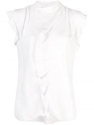 Блузка с асимметричной планкой и короткими рукавами Derek Lam 10 Crosby. Цвет: белый