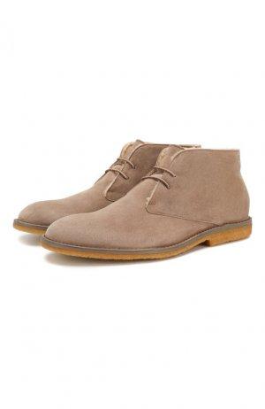 Замшевые ботинки Brioni. Цвет: бежевый