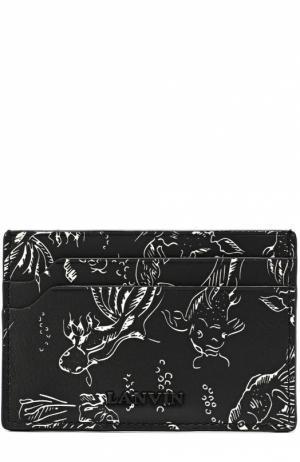 Кожаный футляр для кредитных карт с принтом Lanvin. Цвет: черно-белый