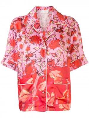 Рубашка с короткими рукавами и цветочным принтом Peter Pilotto. Цвет: красный