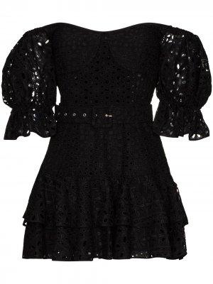 Платье мини Jean с открытыми плечами Charo Ruiz Ibiza. Цвет: черный