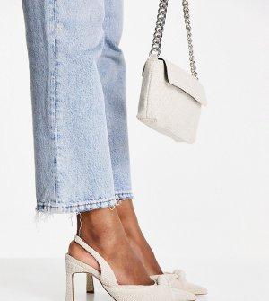 Бежевые туфли на среднем каблуке для широкой стопы с ремешком пятке и декоративным узелком Sandy-Светло-бежевый цвет ASOS DESIGN