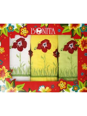 Полотенце - 3 шт. BONITA. Цвет: белый, желтый, зеленый