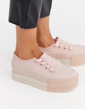 Бежевые кроссовки на массивной подошве -Бежевый Melissa
