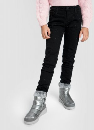 Джинсы Slim для девочек на флисовой подкладке O`Stin. Цвет: черный