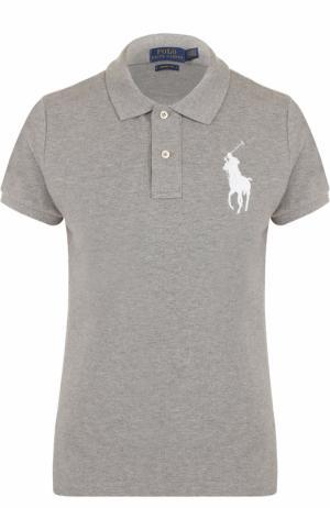 Хлопковое поло с вышитым логотипом бренда Polo Ralph Lauren. Цвет: серый