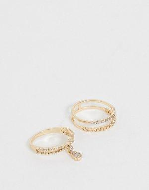 Набор из 2 золотистых колец с фианитом -Золотой ASOS DESIGN