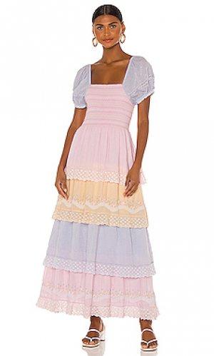 Макси платье capella LoveShackFancy. Цвет: розовый