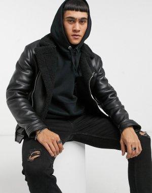Черная байкерская куртка из искусственной кожи с воротником «борг» -Черный Bershka