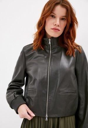 Куртка кожаная Sportmax Code EMBASSY. Цвет: зеленый