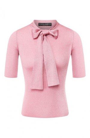 Пуловер из вискозы Dolce & Gabbana. Цвет: светло-розовый