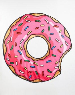 Пляжное покрывало с дизайном в виде клубничного пончика -Розовый цвет Big Mouth