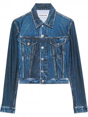 Джинсовая куртка с эффектом тромплей Balenciaga. Цвет: синий