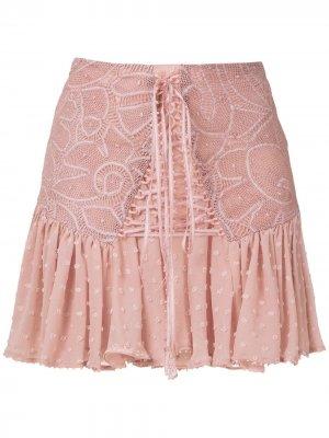 Кружевная юбка мини Thamires Martha Medeiros. Цвет: розовый